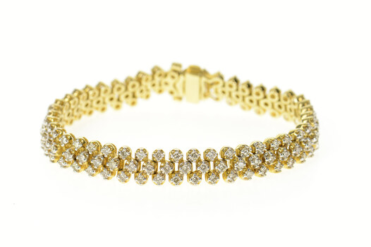 14K 4.05 Ctw Diamond Lattice Encrusted Tennis Yellow Gold Bracelet 7.25""