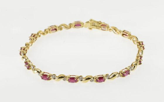 "14K 4.15 Ctw Syn. Ruby Diamond Wavy Curvy Link Tennis Yellow Gold Bracelet 7.1"""