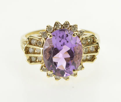 14K 4.50 Ctw Oval Amethyst Diamond Accent Fashion Yellow Gold Ring, Size 7.5