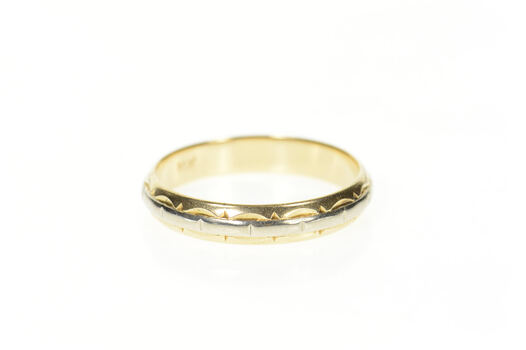 14K 4.5mm Art Deco Two Tone Men's Wedding Band Yellow Gold Ring, Size 11.75