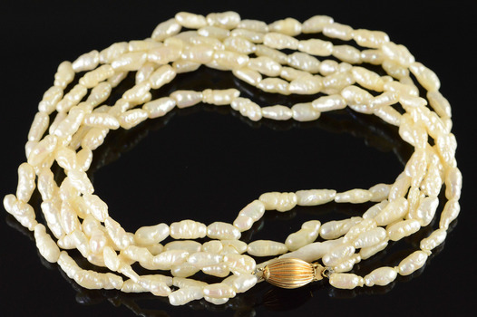 """14K 4mm Freshwater Pearl Gold Ball Multi Strand Yellow Gold Necklace 16.5"""""""