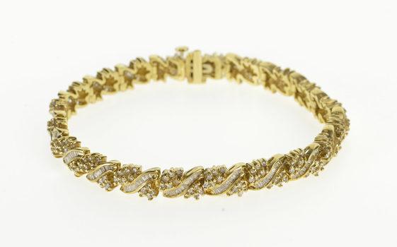 "14K 5.10 Ctw Diamond Encrusted Ornate Tennis Yellow Gold Bracelet 7.25"""