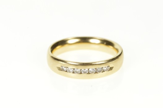 14K 5.1mm Diamond Channel Classic Wedding Band Yellow Gold Ring, Size 7.25