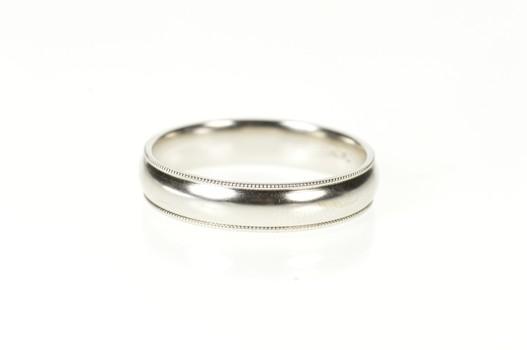 14K 5.1mm Men's Rounded Milgrain Wedding Band White Gold Ring, Size 11.75