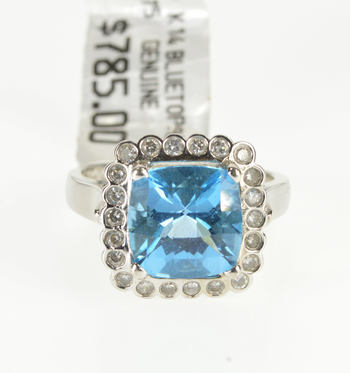14K 5.22 Ctw Faceted Cushion Blue Topaz Diamond Halo White Gold Ring, Size 7