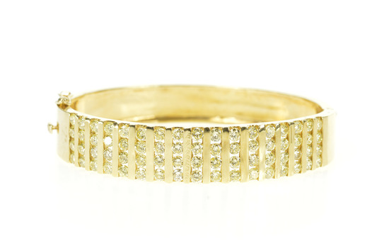 14K 5.44 Ctw Diamond Bar Channel Wide Bangle Yellow Gold Bracelet 7""