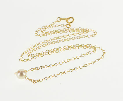 """14K 5.4mm Pearl Beaded 1.4mm Cable Link Chain Yellow Gold Necklace 15"""""""