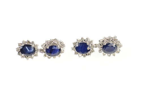 14K 5.74 Ctw Natural Sapphire Diamond Halo Dangle White Gold Earrings