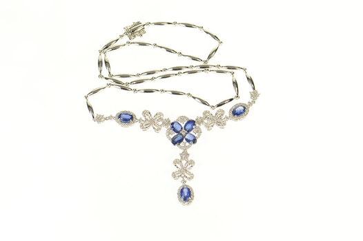"""14K 5.79 Ctw Sapphire Diamond Floral Lavalier White Gold Necklace 16.75"""""""