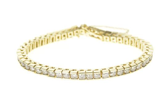 "14K 5.88 Ctw Round Diamond Squared Tennis Yellow Gold Bracelet 7.25"""