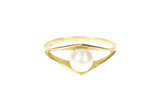 14K 5.8mm Classic Pearl Split Design Statement Yellow Gold Ring, Size 6.75