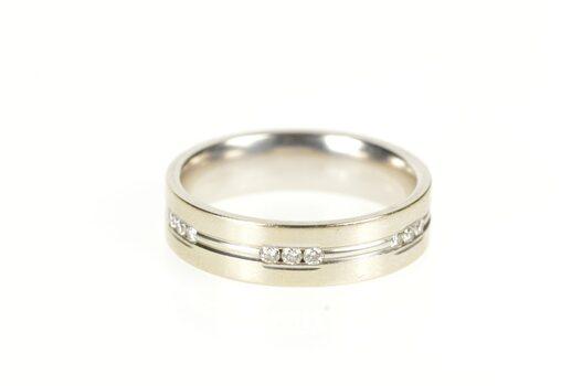 14K 5.9mm Grooved Diamond Men's Wedding Band White Gold Ring, Size 10