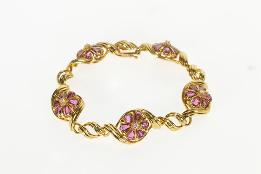 "14K 6.00 Ctw Pear Ruby Flower Cluster Diamond Yellow Gold Bracelet 7"""