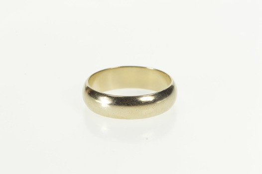 14K 6.0mm Classic Rounded Men's Wedding Band White Gold Ring, Size 9.75