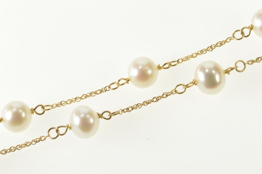 """14K 6.5mm Pearl Beaded Cable Link Chain Yellow Gold Necklace 24"""""""