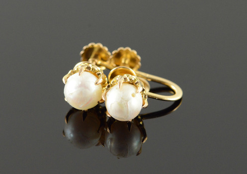 14K 6mm Pearl Claw Set Screw Back Yellow Gold EarRings