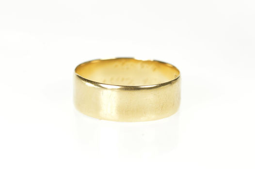 14K 7.2mm Art Deco Masonic Inscribed Men's Band Yellow Gold Ring, Size 9.75