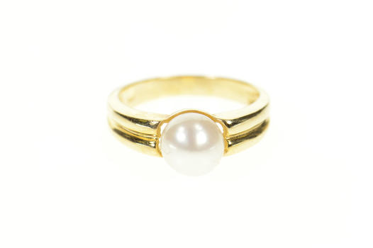 14K 7.5mm Classic Pearl Grooved Statement Yellow Gold Ring, Size 6.5