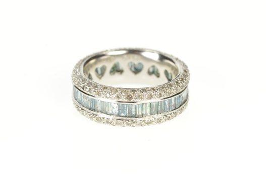 14K 7.6mm Diamond Encrusted Blue Baguette Band White Gold Ring, Size 6.25