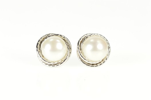 14K 7.7mm Pearl Inset Twist Spiral Trim Stud White Gold Earrings