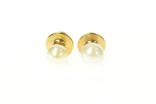 14K 8.0mm Fancy Classic Pearl Set (2x) Lapel Yellow Gold Pin/Brooch
