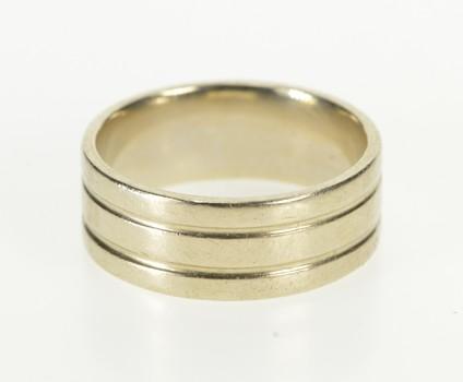 14K 8.0mm Grooved Design Men's Wedding Band White Gold Ring, Size 9