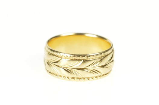 14K 8.1mm Leaf Frond Pattern Retro Wedding Band Yellow Gold Ring, Size 6.5
