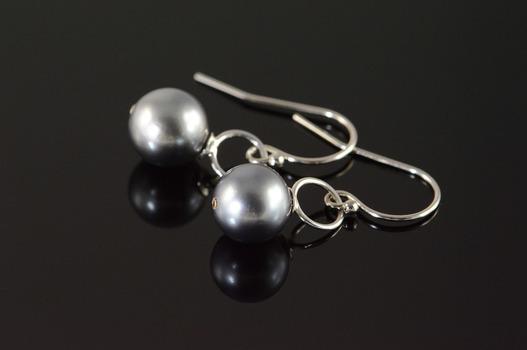 14K 8.2mm Black Pearl Dangle Hook White Gold EarRings