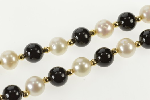14K 8.7mm Retro Pearl Black Onyx Statement Yellow Gold Necklace 18.25""