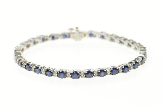 "14K 9.00 Ctw Sapphire Diamond Classic Tennis White Gold Bracelet 7.25"""