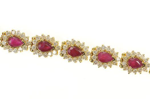 14K 9.90 Ctw Pear Ruby Diamond Halo Tennis Yellow Gold Bracelet 7""