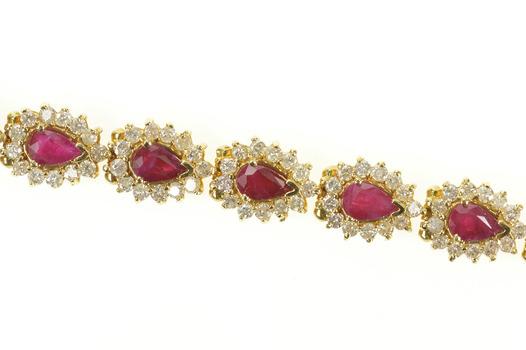 "14K 9.90 Ctw Pear Ruby Diamond Halo Tennis Yellow Gold Bracelet 7"""