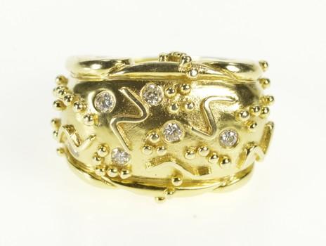 14K Aletto Bros. Geometric Diamond Statement Yellow Gold Ring, Size 6.5