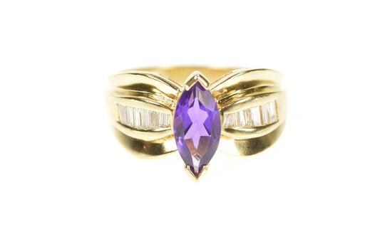 14K Amethyst Baguette Diamond Engagement Yellow Gold Ring, Size 6.75