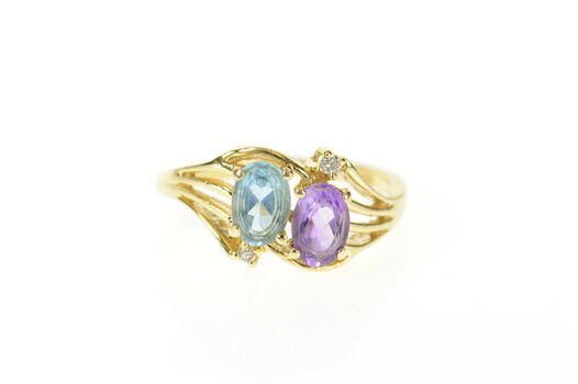 14K Amethyst Blue Topaz Diamond Accent Bypass Yellow Gold Ring, Size 4.5