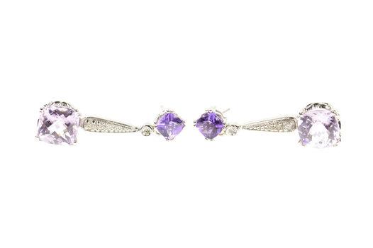 14K Amethyst Diamond Drop Dangle Statement White Gold Earrings