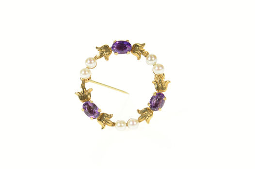 14K Amethyst Pearl Ornate Floral Round Wreath Yellow Gold Pin/Brooch