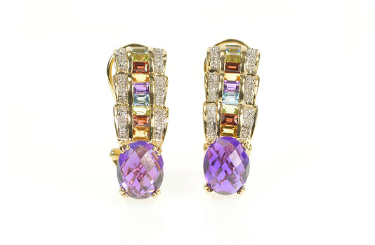 14K Amethyst Scalloped Rainbow French Clip Yellow Gold Earrings
