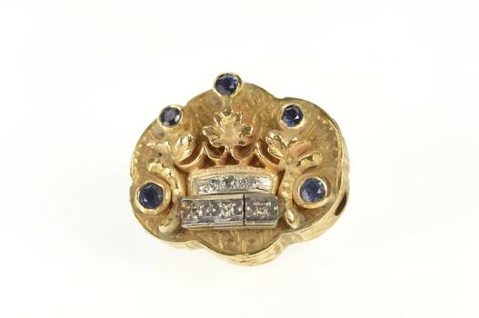 14K Antique Sapphire Diamond Crown Slide Bracelet Yellow Gold Charm/Pendant