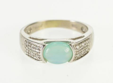 14K Aqua Blue Chalcedony Cabochon Diamond Accent White Gold Ring, Size 5