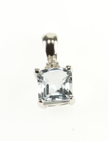 14K Aquamarine Faceted Cushion Cut Diamond Accent White Gold Pendant