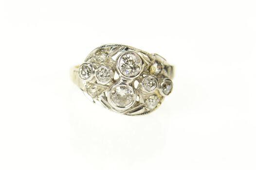 14K Art Deco 0.88 Ctw Ornate Diamond Statement Yellow Gold Ring, Size 5