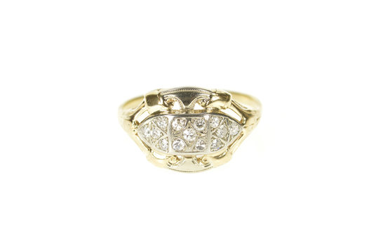 14K Art Deco 1920's Ornate Diamond Statement Yellow Gold Ring, Size 8