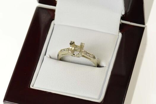 14K Art Deco 6.0mm Diamond Engagement Setting White Gold Ring, Size 6