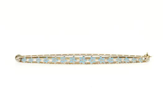 14K Art Deco Blue Enamel Daisy Flower Filigree Bar Yellow Gold Pin/Brooch