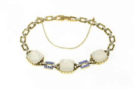 "14K Art Deco Camphor Glass Syn. Sapphire Statement Yellow Gold Bracelet 7.5"""