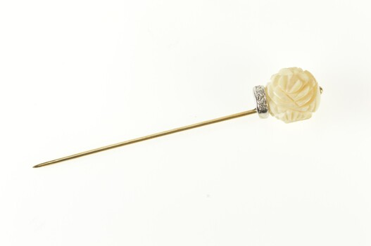 14K Art Deco Carved Flower Diamond Accent Yellow Gold Stick Pin