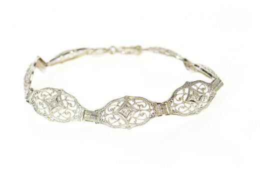 14K Art Deco Diamond Filigree Ornate Statement White Gold Bracelet 7.5""