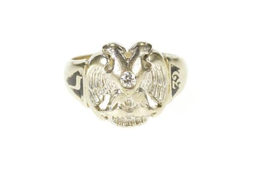 14K Art Deco Diamond Masonic Eagle Enamel Men's White Gold Ring, Size 10.5