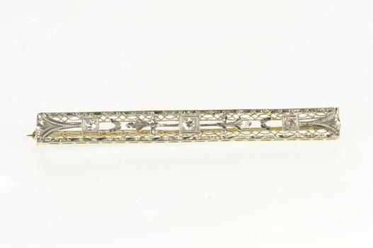14K Art Deco Diamond Scroll Filigree Bar White Gold Pin/Brooch